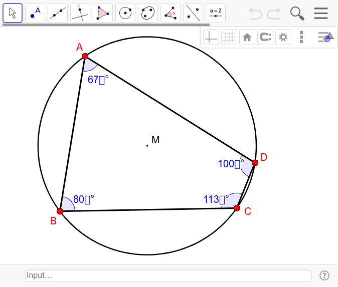 Eigenschaften von Vierecken mit Umkreis Drücke die Eingabetaste um die Aktivität zu starten