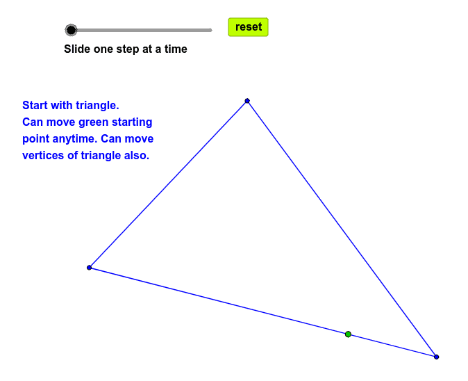 Closed path in triangle. Centers of incircles and vertices determine concurrent rays. Press Enter to start activity
