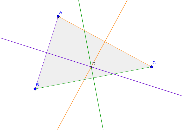 Perpendicular bisector of each side, intersecting at circumcenter D (point of concurrency) Press Enter to start activity