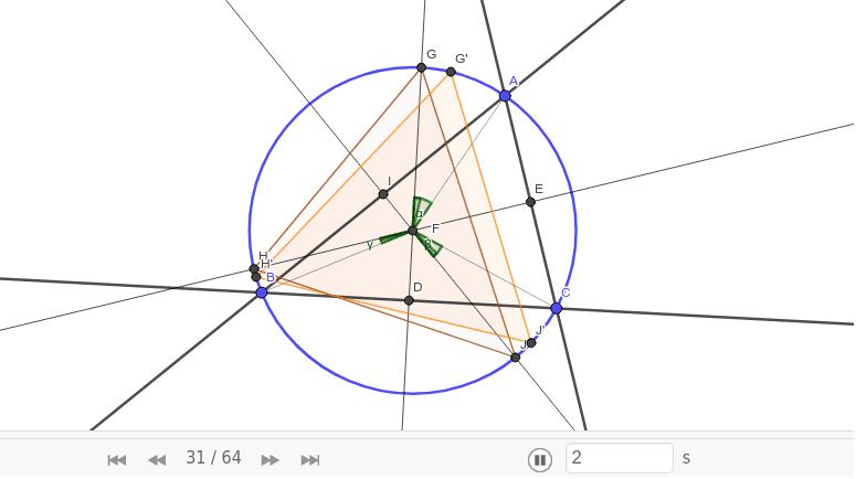△G'H'J'が正三角形になることを証明するには中心角に注目する。 ワークシートを始めるにはEnter キーを押してください。