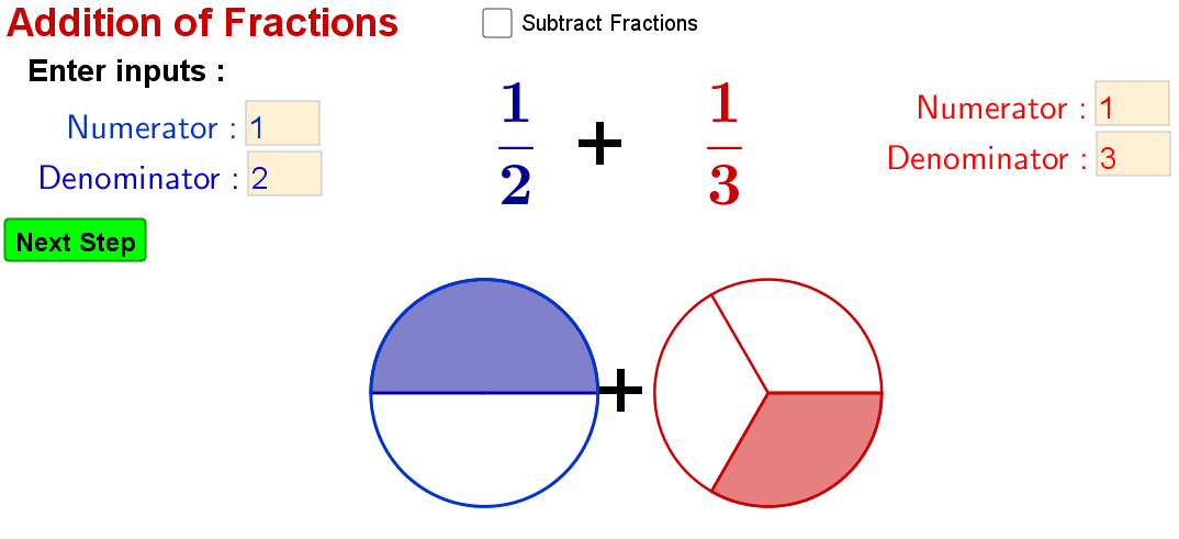 Illustrating  Addition and Subtraction of Proper Fractions