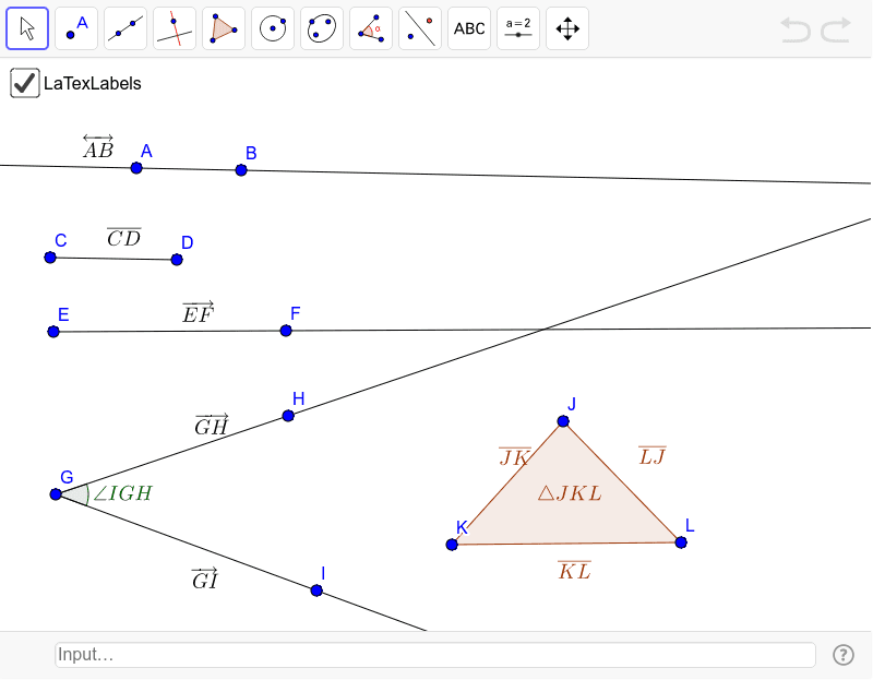 Labels automatically generated in LaTex for lines, segments, rays, angles, vectors, and triangles. Try it out. Press Enter to start activity
