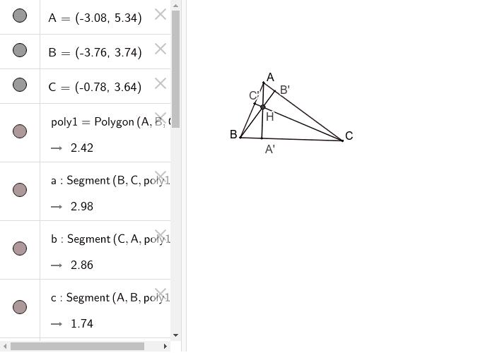 Inaltimile in triunghiul ascutitunghic Press Enter to start activity
