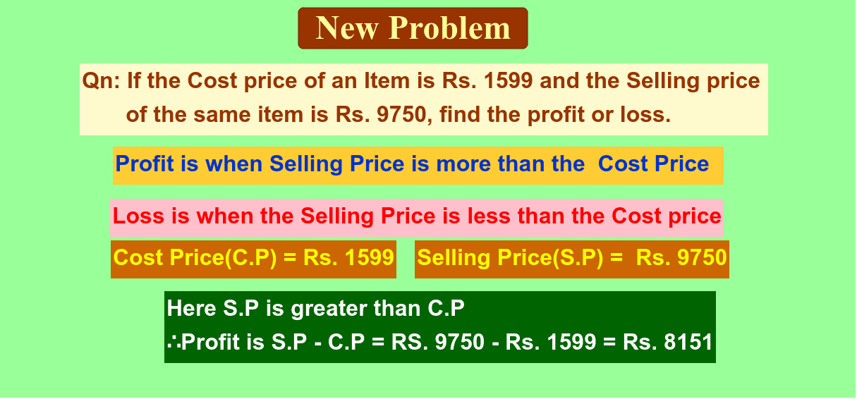 Find the Profit or Loss. Press Enter to start activity