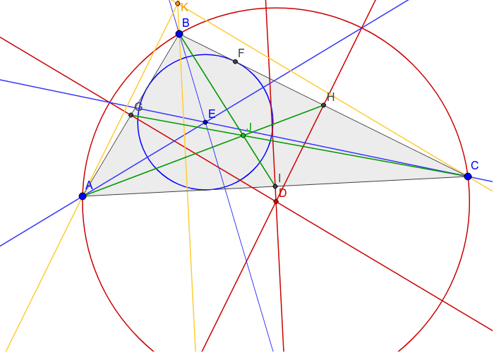 Altitudes (yellow) concurrent at the orthocenter (K) Press Enter to start activity