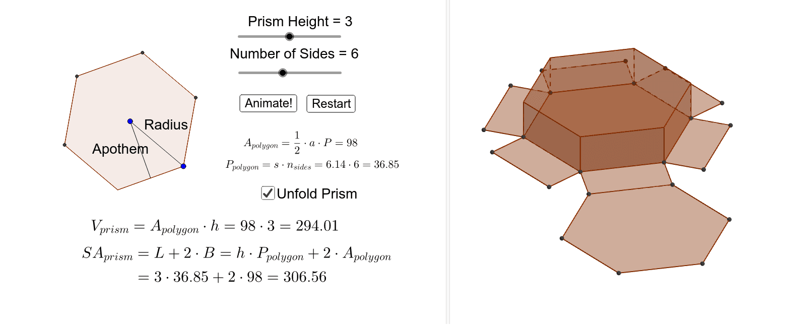 Use the applet below to explore the volume and surface area of right, regular prisms. You can change the height of the solid and the radius and number of sides of the base. Press Enter to start activity