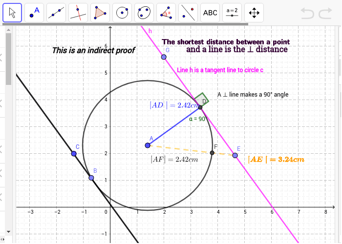 Each tangent is perpendicular to the radius that goes to the point of contact Press Enter to start activity