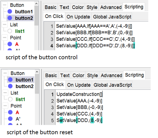 scripts of the two buttons