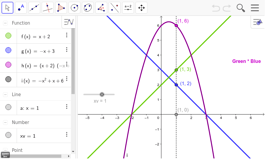 Type your first line into f(x) and your second line into g(x).  h(x)=f(x)*g(x) {geogebra does this}.  Type the resulting parabola in standard form in i(x).  It should overlap h(x). Press Enter to start activity