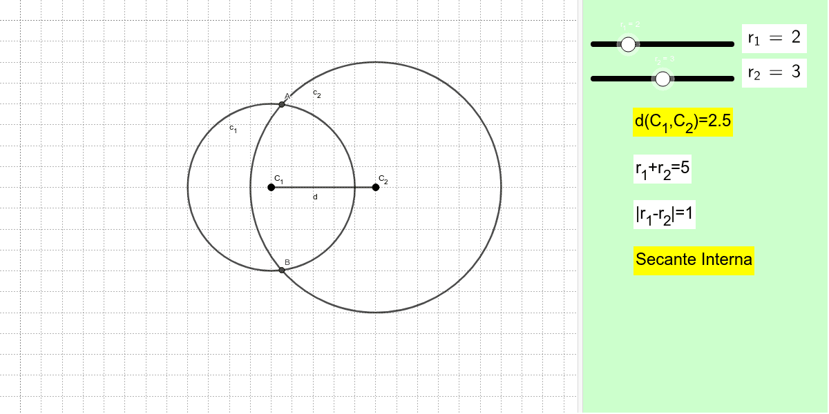Sposta i centri delle circonferenze per cambiare la loro distanza oppure modifica le misure dei raggi nella console di destra Premi Invio per avviare l'attività
