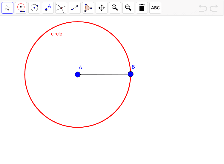 Construct an equilateral triangle inside of the given circle Press Enter to start activity
