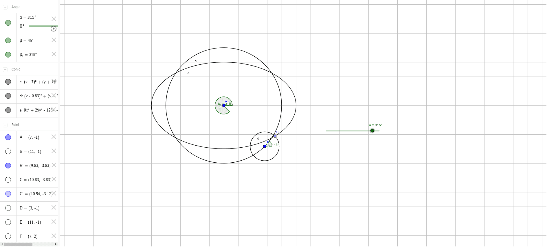 Note the path of point C' Press Enter to start activity