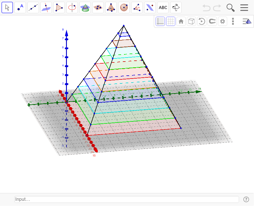 Estimate the volume of a square pyramid using unit layers. (Square 10X10 and 10 high) Press Enter to start activity