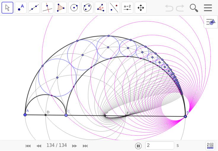 とてもきれいだ! ピンクの円は隣り合う円の接点を通っている。 ワークシートを始めるにはEnter キーを押してください。
