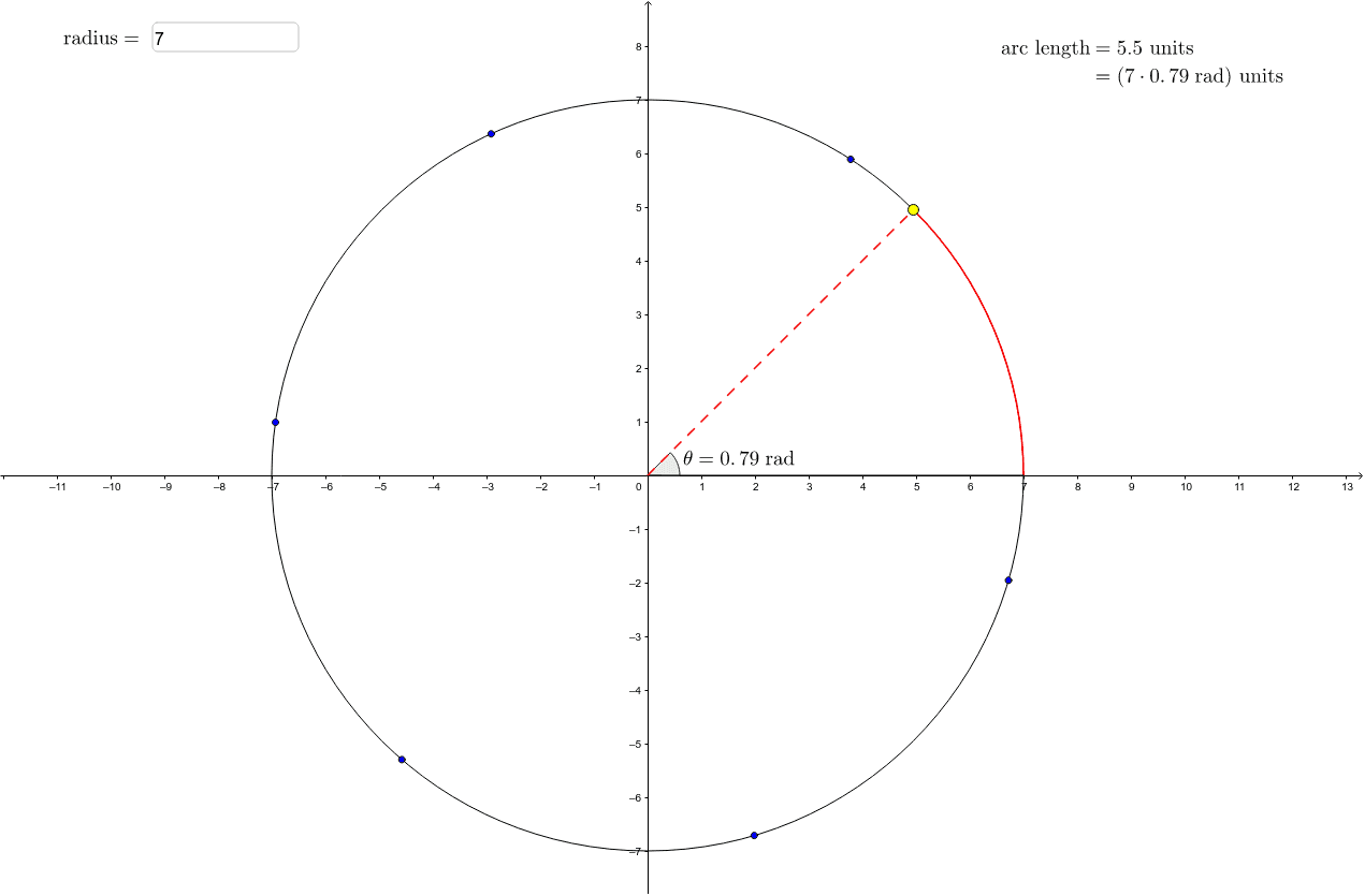 This worksheet illustrates the concept of radian measure of angles and its connection to arc length. You may change the radius of the circle and move the yellow point.