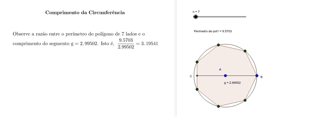 Noção intuitiva para a determinação de  π  Press Enter to start activity