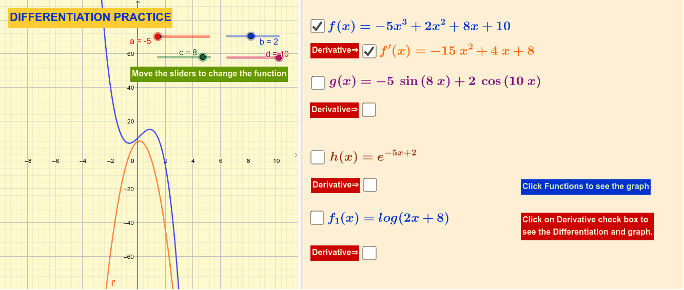 Essential Differentiation for Business Mathematics students Press Enter to start activity