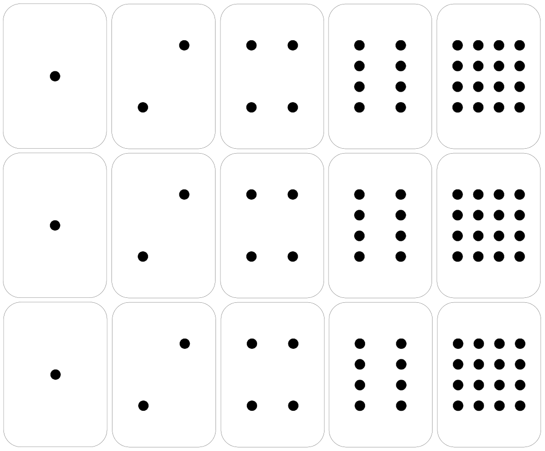 Binary number dot cards