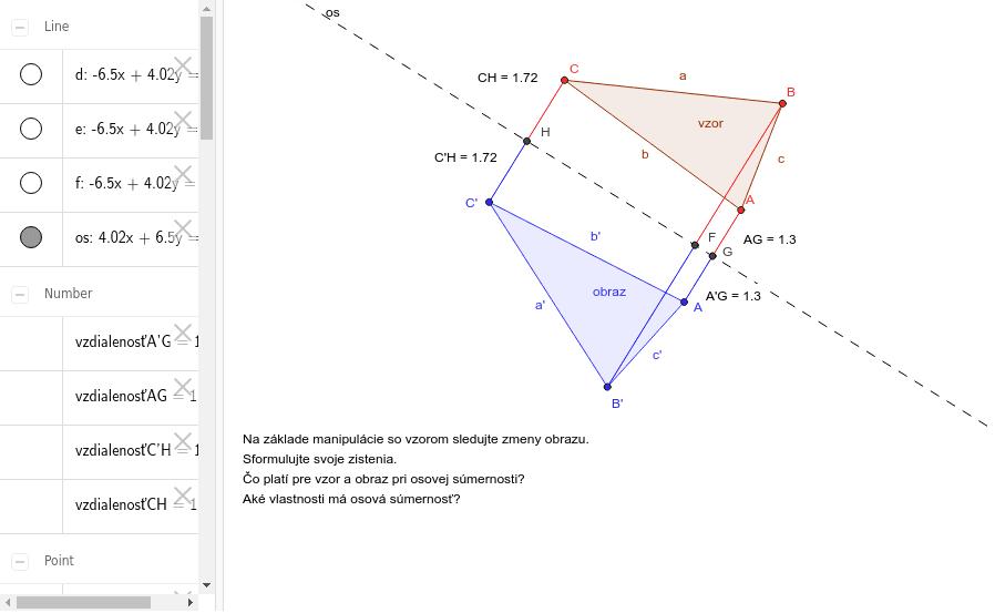 Zobrazenie trojuholníka v osovej súmernosti Press Enter to start activity