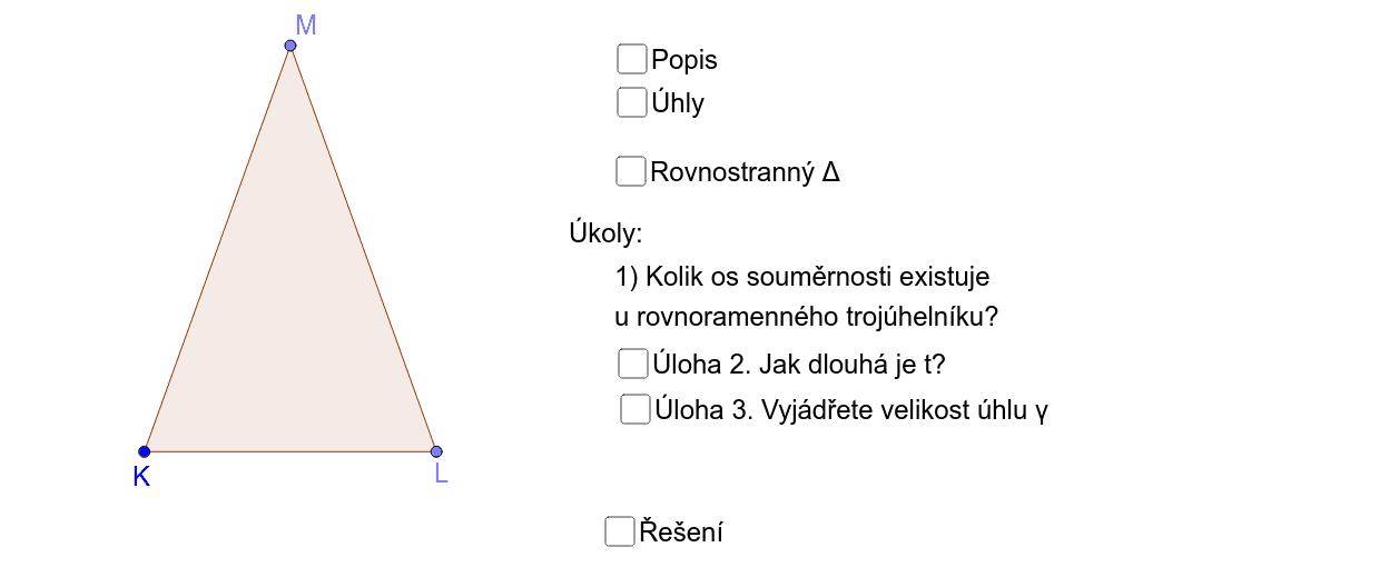 Rovnoramenný trojúhelník - vlastnosti Zahajte aktivitu stisknutím klávesy Enter