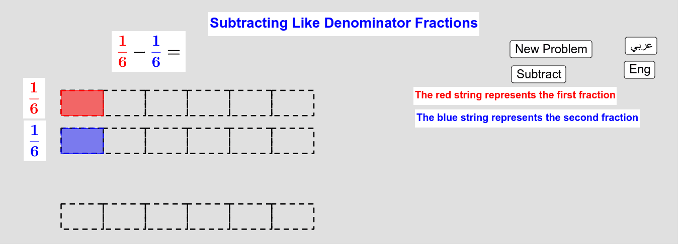 Subtracting Like Denominators Fractions          طرح الكسور من المقام نفسه Press Enter to start activity