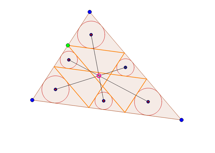 Closed path in a triangle with incircles Press Enter to start activity