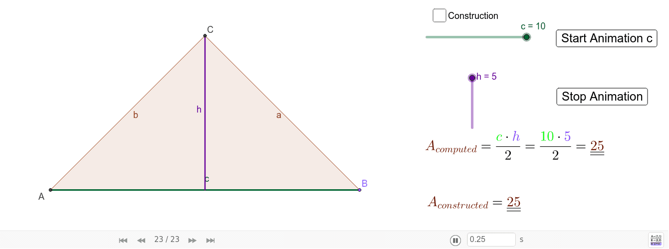 Write here a short explanation of the problem.   \\  In this problem,I construct a triangle given the base and the height. I also calculate the area. Press Enter to start activity