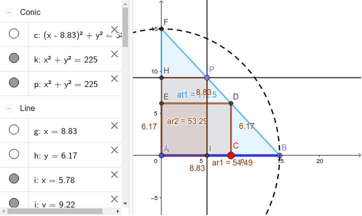 Establecer el momento en el que, los dos paralelogramos tiene la misma área y ésta es máxima ... para ello, desplace el punto D, de igual manera el punto C, hasta que ambos paralelogramos coincidan y le área sea máxima Presiona Intro para comenzar la actividad