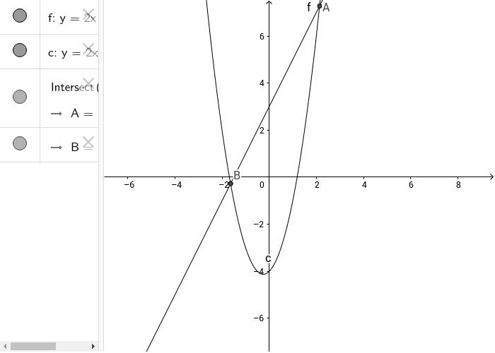 Intersezione tra parabola e retta Press Enter to start activity