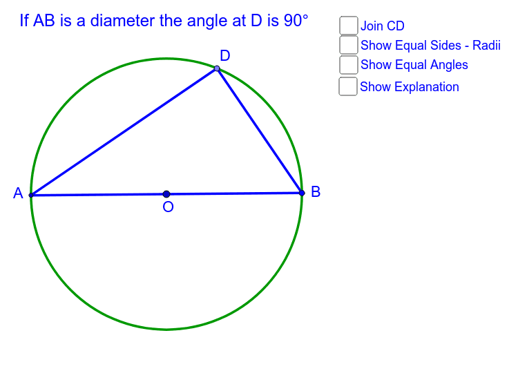 Theorem 2. Angle subtended at the circumference by a semicircle is 90° Press Enter to start activity