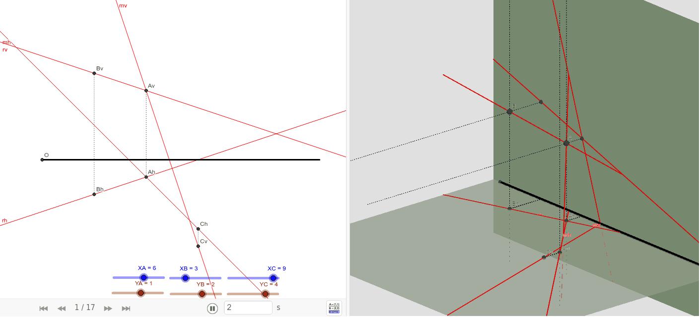 Las rectas r (A, B) y m(A, C) definen un plano. Al reproducir la secuencia podrás ver el procedimiento para encontrar las trazas de ese plano. Presiona Intro para comenzar la actividad