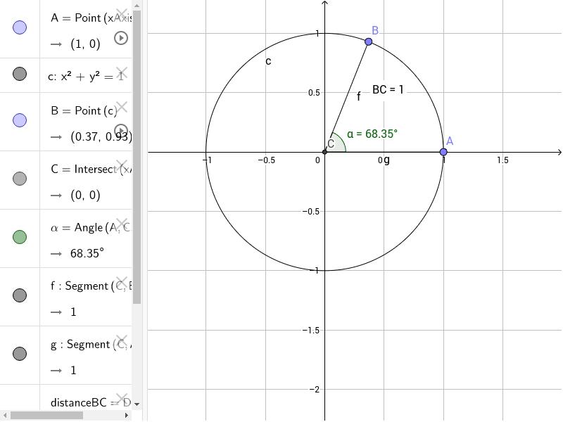 Muovi il punto B sulla circonferenza e verifica l'angolo Press Enter to start activity
