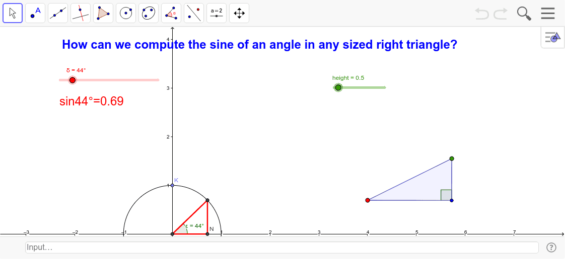 We have been computing sine, cosine, and tangent using the unit circle, where all right triangles have a hypotenuse of 1.  In this task we will explore how to compute these values when given triangles with hypotenuse not equal to one.  Press Enter to start activity