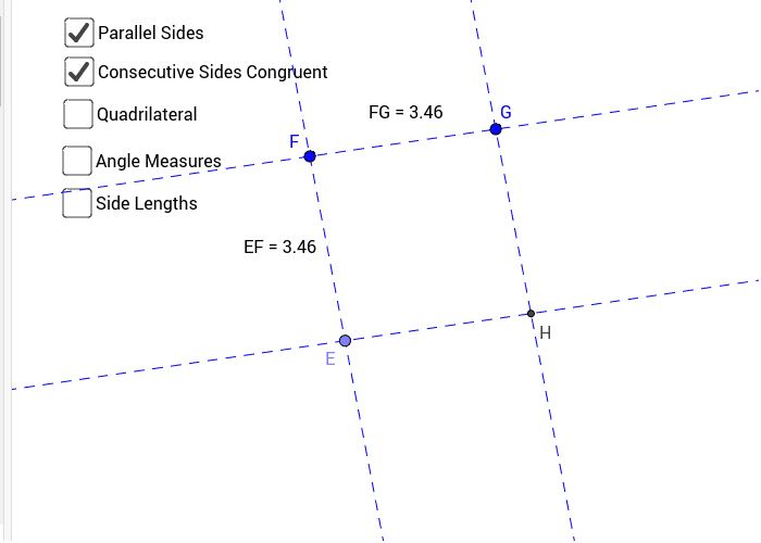 Figure #1: Parallelogram with Consecutive sides Congruent Press Enter to start activity