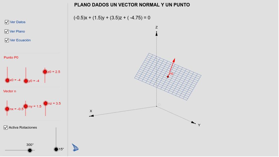 Plano dado un vector normal y un punto Presiona Intro para comenzar la actividad