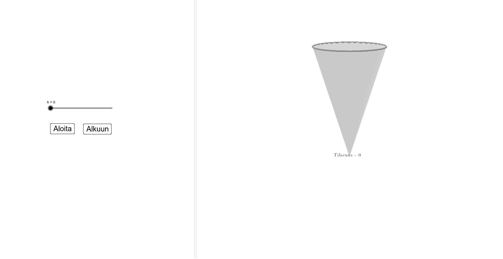 Ympyräpohjaisen kartion tilavuus (Volume of a cone) Paina Enter aloittaaksesi