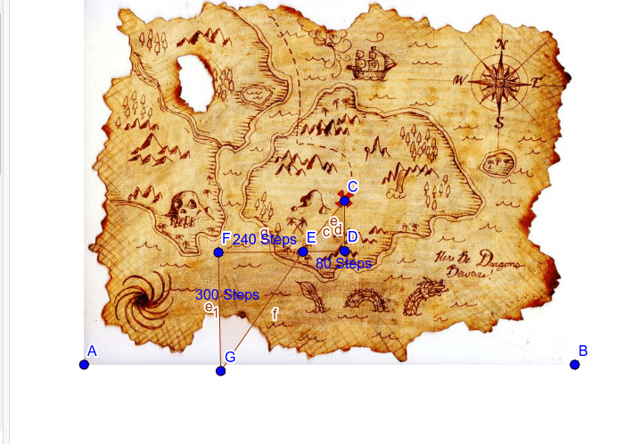 Treasure Map: How many steps would it take from the mountains (at point D) to get to the treasure? Press Enter to start activity