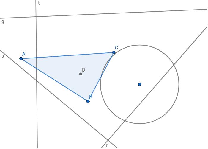 Verschiebe die Geraden s,t,r und q, sodass sie sich in D schneiden. Verschiebe den Kreis sodass der Mittelpunkt in D liegt und die Kreislinie durch C verläuft. Drücke die Eingabetaste um die Aktivität zu starten