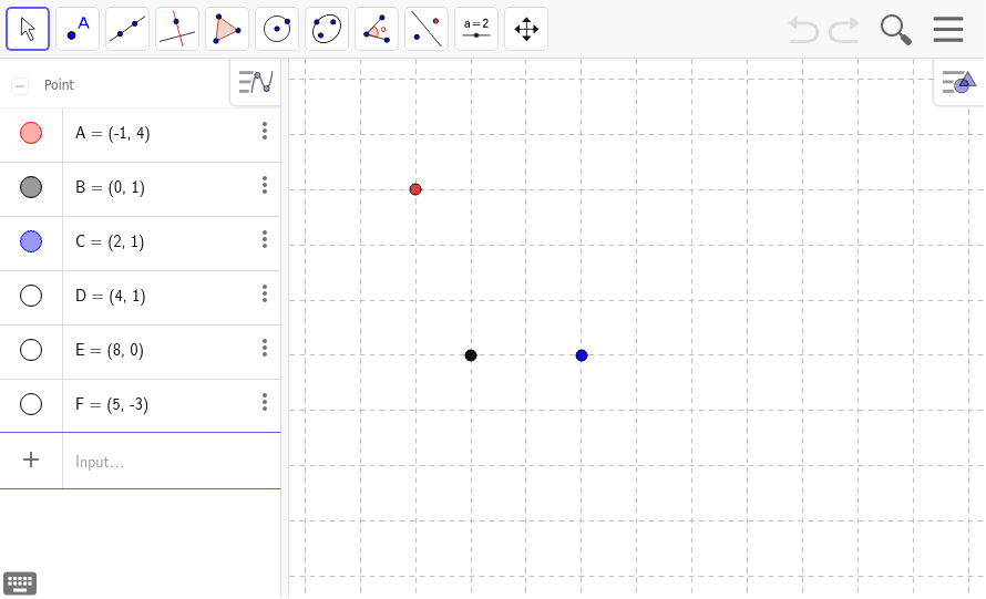 Points related to Handout A are shown.  For the points from Handout B deselect A, B, C at the left and then select (click on) points C, D, & E Press Enter to start activity