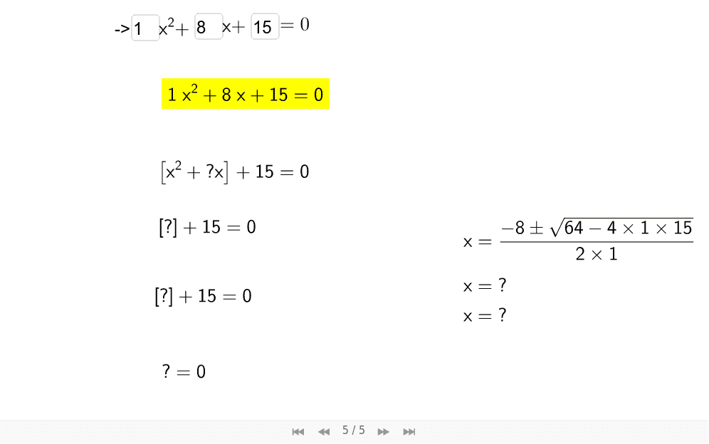 Step-by-Step: Completing the Square Press Enter to start activity