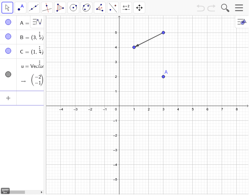 Translate point A by the given vector. Press Enter to start activity