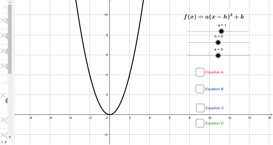 One at a time, turn on each equation and use the sliders to match the black quadratic parent function with the new transformed function.  Press Enter to start activity