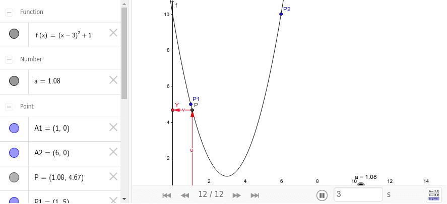 Az f(x)=(x-3)^2+1 függvény megfeleletésének szemléltetése Press Enter to start activity