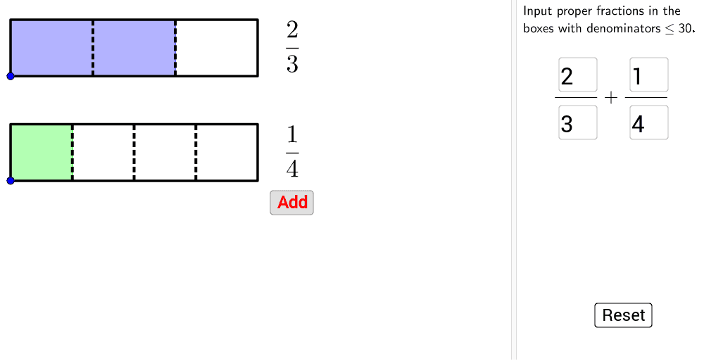 You can change the fractions by using right panel values. Press Enter to start activity