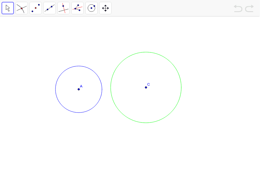 Construct the external tangents to circle A and C. Press Enter to start activity