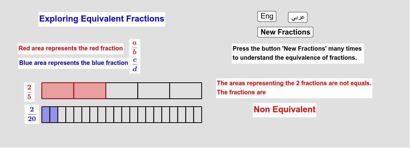 Exploring Equivalent Fractions      استكشاف تكافؤ الكسور Press Enter to start activity