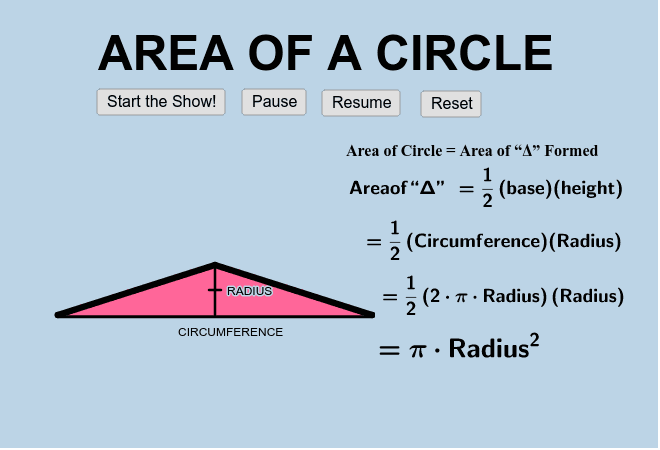 What is the formula for the circumference of a circle?  What is the formula for the area of a triangle? How could we use these to help us find the area of a circle? Press Enter to start activity