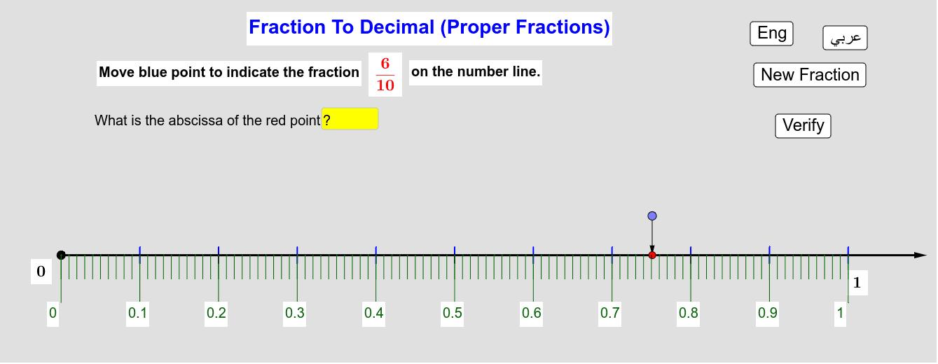 Converting A proper Fraction To A Decimal       تحويل كسر ناقص إلى عدد عشري Press Enter to start activity