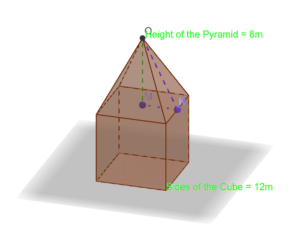 Calculate the Surface area of the figure. Tryk Enter for at starte aktiviteten