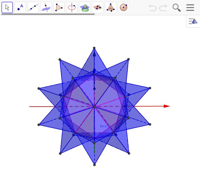 全て正三角形から出来ている。基は正20面体。角が全部出ていないときは、少し動かして元へ戻すをクリックしてください。 ワークシートを始めるにはEnter キーを押してください。